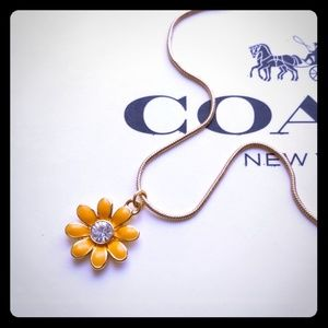 Coach Pave Daisy Flower Charm Gold Plated Necklace